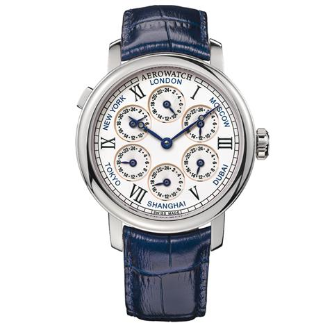 Swiss-made 7 Time Zones Watch (Dark Blue Leather with Silver Finish)