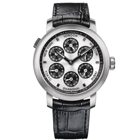 Swiss-made 7 Time Zones Watch (Black Leather with Silver Finish)