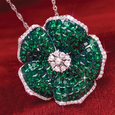 Emerald Green Flower Pendant