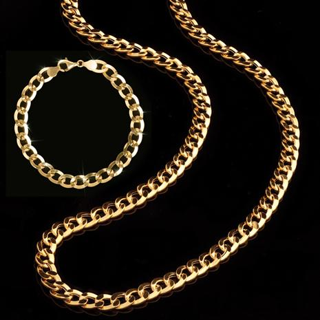 14K Italian Gold Grumetta Necklace and Bracelet