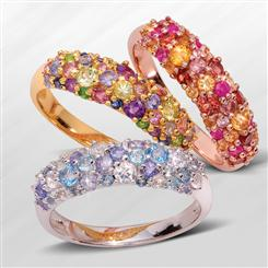 Genuine Gemstone Cluster Rings