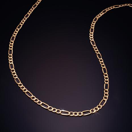 "14K Italian Gold 22"" Figaro Necklace"