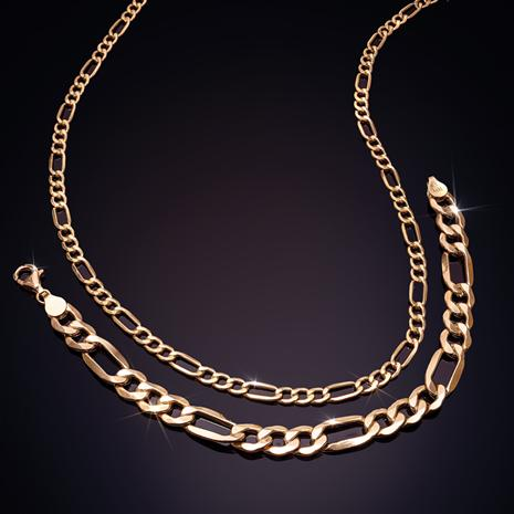 14K Italian Gold Figaro Necklace & Bracelet