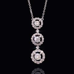 14K WG Moissanite 3-Stone Necklace (1 2/3 ctw)