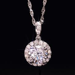 14K WG Moissanite Pendant and Chain