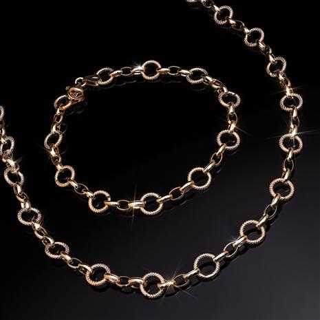 Italian 14K Gold Dual Link Necklace and Bracelet