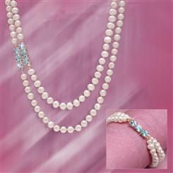 Pearl and Blue Topaz Indulgence Necklace & Bracelet