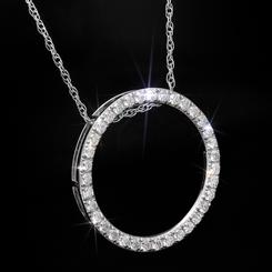 Moissanite Circle Pendant and Chain