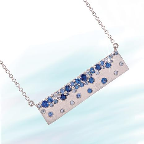 14K White Gold Cool Blue Sapphire Necklace