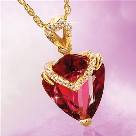 Fancy Cut Red Helenite & Diamond Necklace