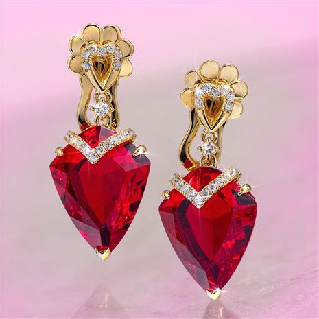 Fancy Cut Red Helenite & Diamond Earrings