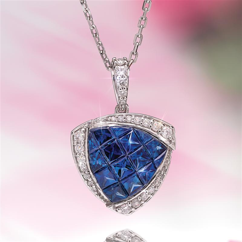 14K White Gold Princess Cut Sapphire & Diamond Necklace