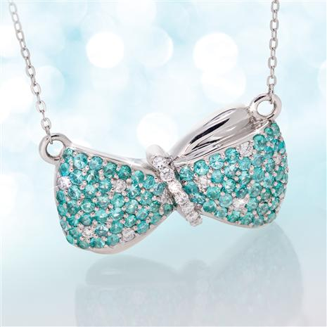 Platinum Paraiba Tourmaline & Diamond Bow Necklace