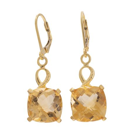 Gold-Finished Sterling Silver Citrine Earrings