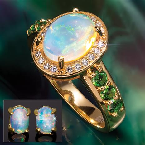 Opal & Helenite Miracle Ring & Opal Earrings