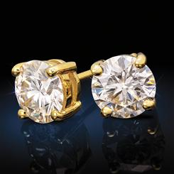 Yellow Gold-Finished Sterling Silver Moissanite Solitaire Earrings (2 ctw)