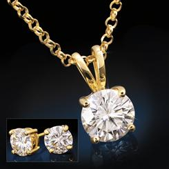Yellow Gold-Finished Sterling Silver Moissanite Pendant, Chain & Earrings Set