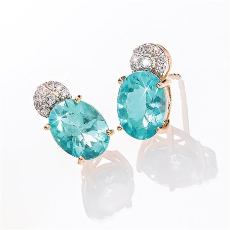 14K Yellow Gold Apatite and Diamond Earrings