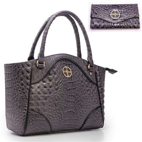 Avalon Crocodile-Embossed Handbag And Wallet Set (gray)
