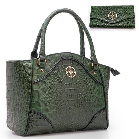 Avalon Crocodile-Embossed Handbag And Wallet Set (Green)