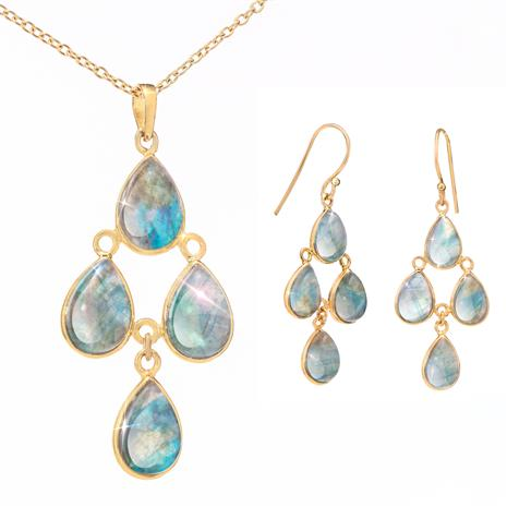 Canadian Labradorite Necklace and Earrings