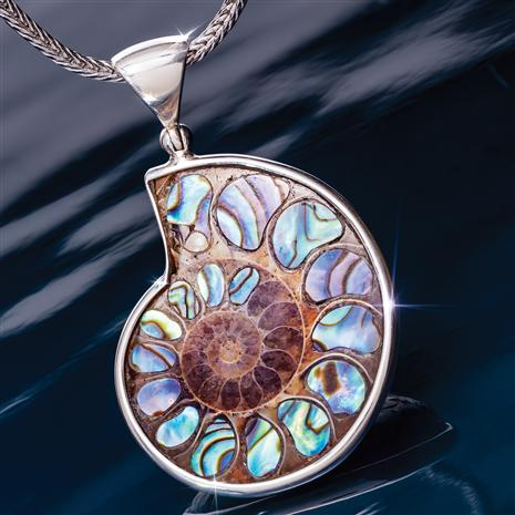 Ammonite & Abalone Shell Pendant and Chain