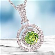 14K White Gold Fancy Green and White Diamond Necklace