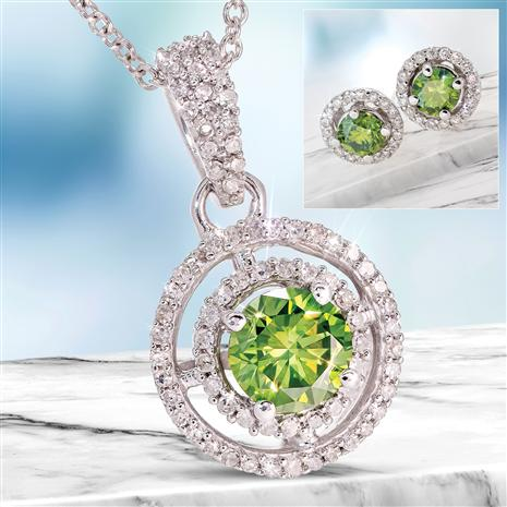 14K White Gold Fancy Green and White Diamond Necklace & Earrings