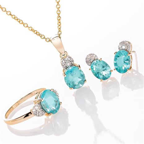 14K Yellow Gold Apatite and Diamond Necklace, Ring & Earrings