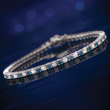 Genuine Blue & White Diamond Tennis Bracelet