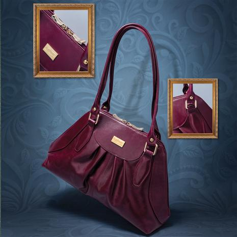 Italian Leather Chianti Handbag (Dark Red)