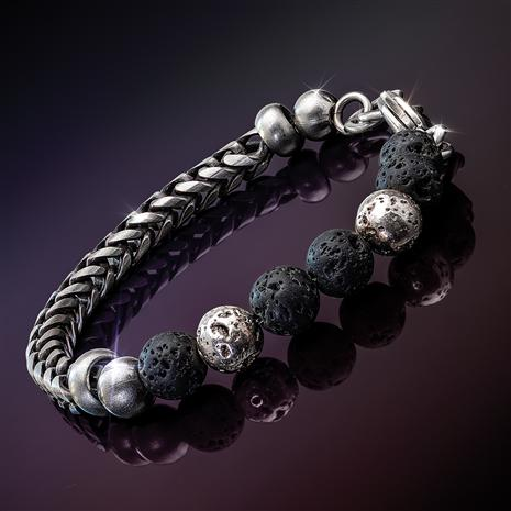 Steel and Lava Bracelet