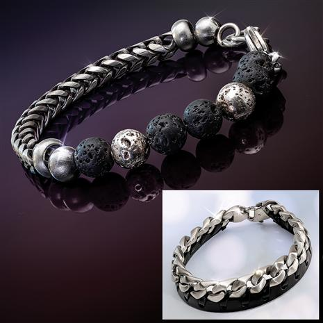 Steel and Leather Bracelet and Steel and Lava Bracelet