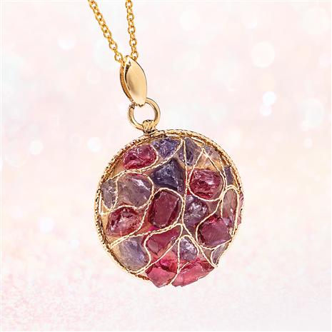 14K Italian Yellow Gold Hand-wired, Iolite & Rhodolite Necklace