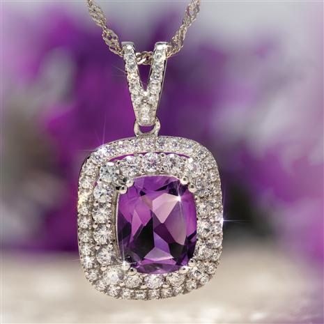 Cushion Cut Amethyst Pendant and Chain