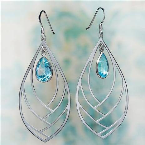 Blue Topaz Drop Earrings in Rhodium-Finished Sterling Silver (6 ctw)