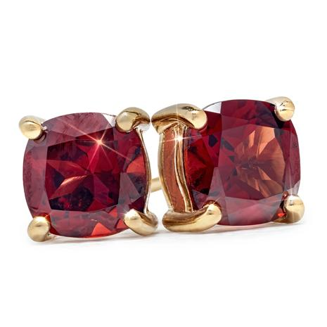Cushion-Cut Garnet Stud Earrings