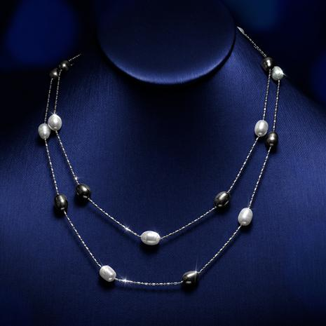 Black and White Pearl Station Necklace