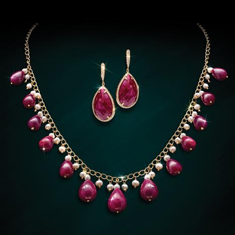 Ruby Drops Necklace and Earrings