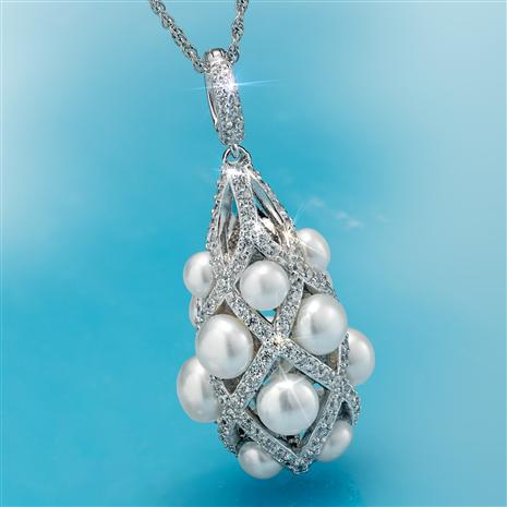 Rhodium Finished Lattice Cultured Pearl Pendant and Chain