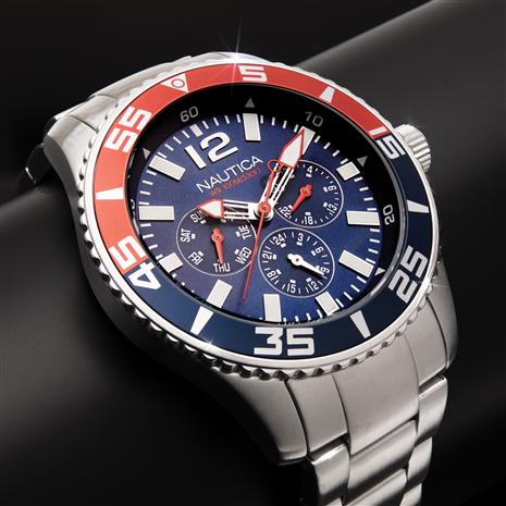 Nautica Red, White and Cool Multifunction Watch
