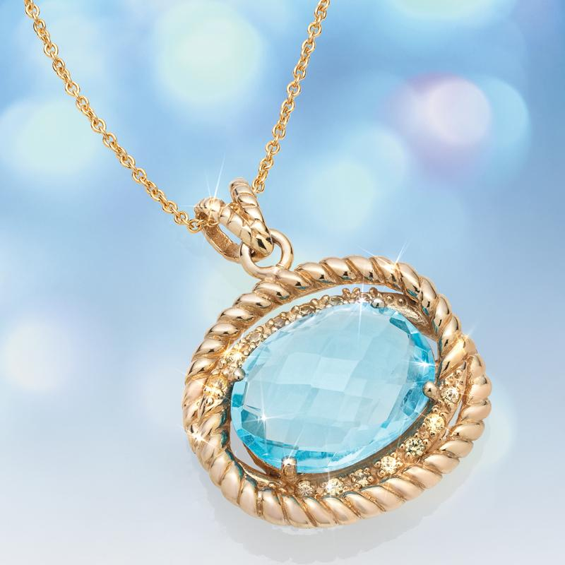 Blue Topaz & Yellow Sapphire Necklace