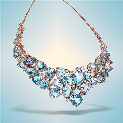 Pear-cut Blue Topaz Statement Necklace (72.84 ctw)