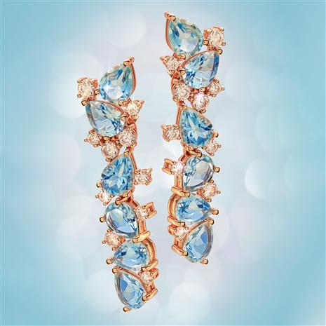 Pear-cut Blue Topaz Statement Earrings (17 ctw)