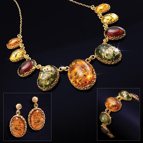 Fancy Amber Necklace, Bracelet & Earrings Set