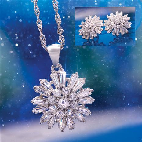 Snowflake Sparkle Pendant, Chain & Earrings