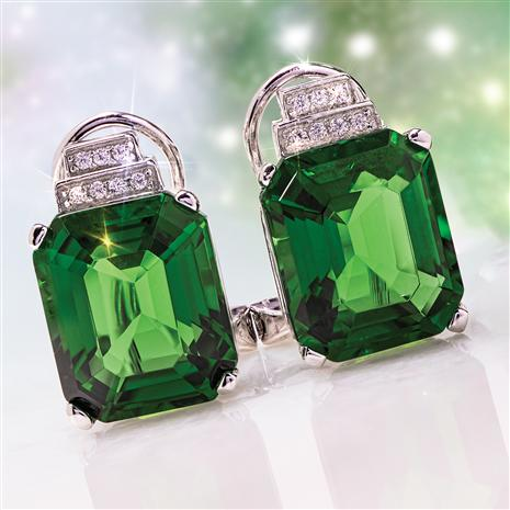 Fancy Elevation Helenite & Diamond Earrings (6.57 ctw)