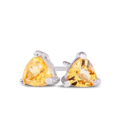 Trillion-Cut Citrine Stud Earrings