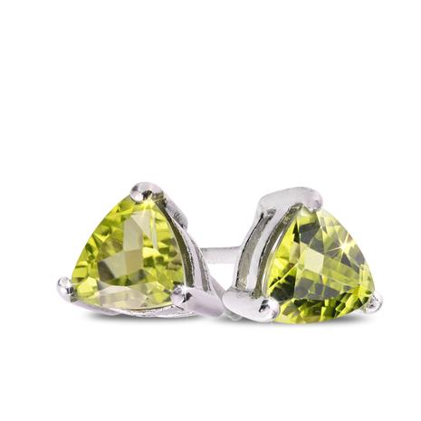 Trillion-Cut Peridot Stud Earrings