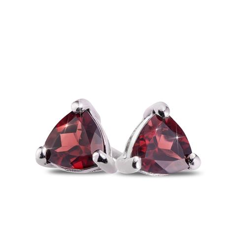 Trillion-Cut Garnet Stud Earrings